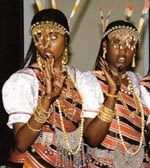 Two young Afar women in traditional clothes from Tadjoura.