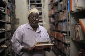 The head of Radio Mogadishu's archives, Abshir Hashi Ali, shows some of the station's most important historical recordings in Mogadishu, Somalia, on November 7